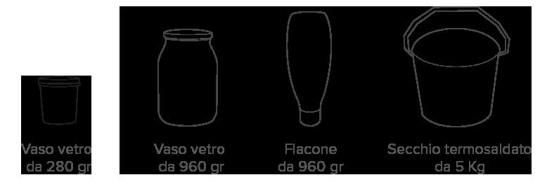 formati vasetto vaso vetro vaschetta secchio