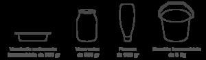 formati vaso vetro vaschetta flacone secchio