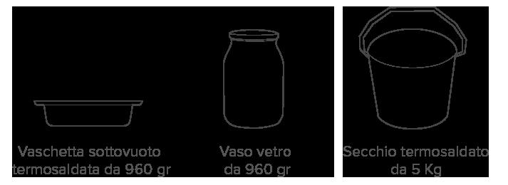 formati vaso vetro vaschetta secchio