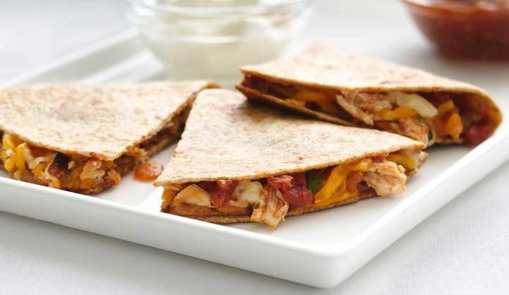 quesadilla con salsa boscaiola piccante