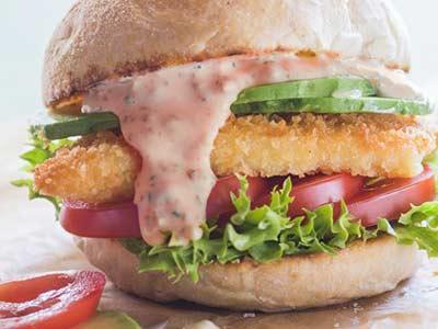 salsa gamberi con fish burger evid